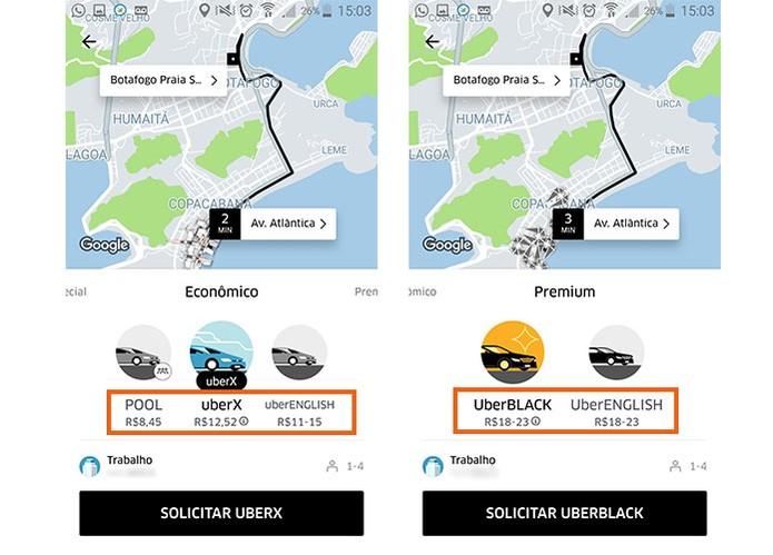 Veja a estimativa de preço no Uber antes de solicitar o carro (Foto: Reprodução/Barbara Mannara)