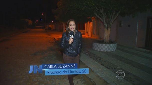 Carla Suzanne destacou o frio em Riachão do Dantas (Foto: Divulgação / TV Sergipe)