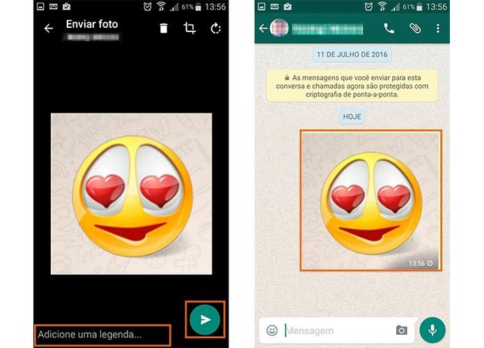 Envie o emoji no WhatsApp e se preferir adicione uma legenda (Foto: Reprodução/Barbara Mannara)