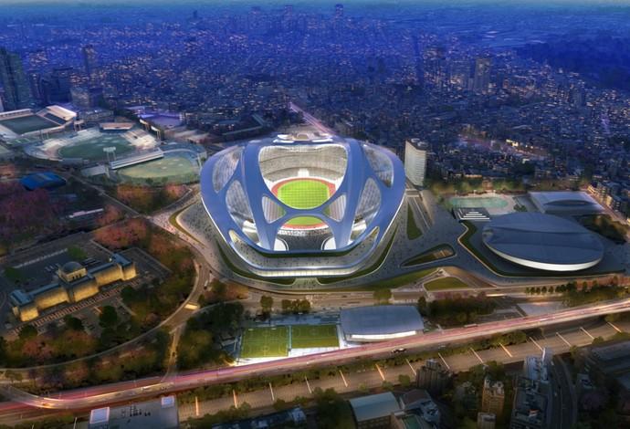 estádio olímpico de Tóquio 2020 (Foto: Divulgação Zaha Hadid)
