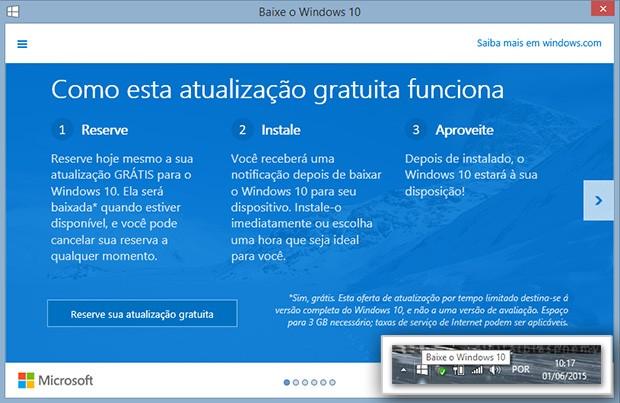 Tela para reservar a atualização gratuita para o Windows 10. (Foto: G1)
