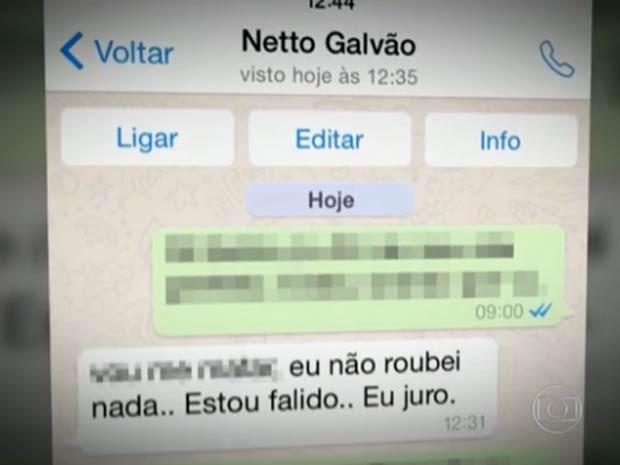 Mensagem recebida por colega de trabalho de decorador indiciado por estelionato no DF (Foto: TV Globo/Reprodução)