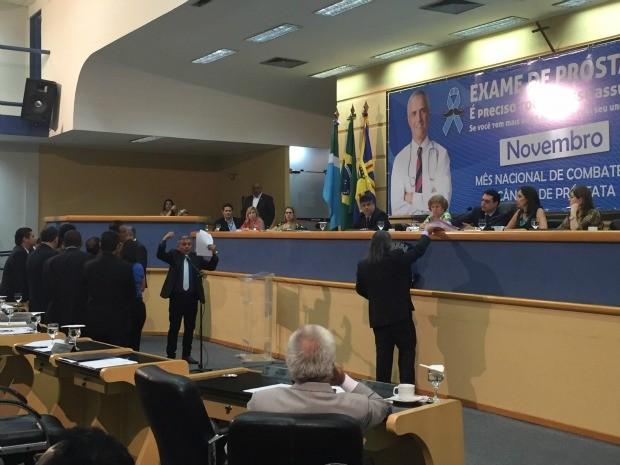 Vereadores durante sessão nesta quinta-feira (12) na Câmara Municipal de Campo Grande (Foto: Gabriela Pavão/G1 MS)