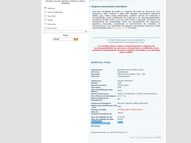 Registro da aeronave no site da Anac consta que situação do Cessna utilizado pelos paraquedistas era normal (Foto: Reprodução / Anac)