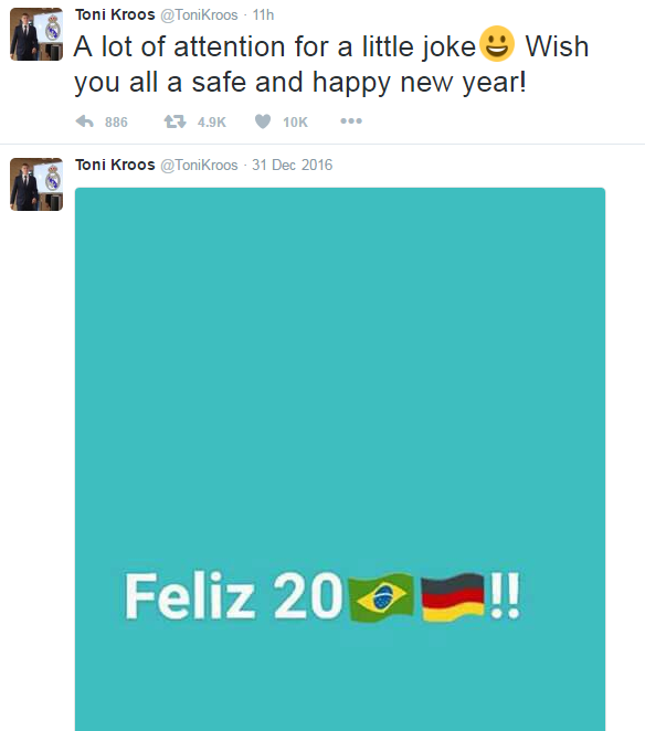 """BLOG: Ronaldo rebate piada de Toni Kroos com foto da final de 2002: """"Feliz Ano Novo"""""""