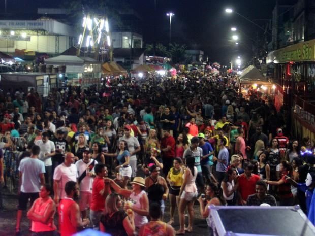 Milhares de pessoas se reuniram na Orla do Amarelinho para curtir o Carnaval do Educandos, em Manaus (Foto: Rickardo Marques/G1 AM)
