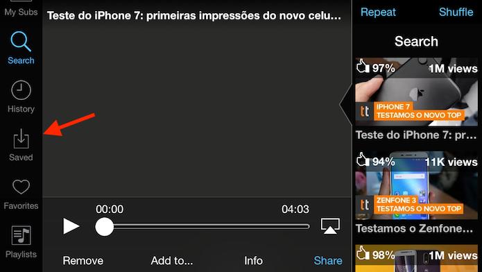 Opção para acessar a tela de vídeos baixados no Tube for YouTube (Foto: Reprodução/Marvin Costa)