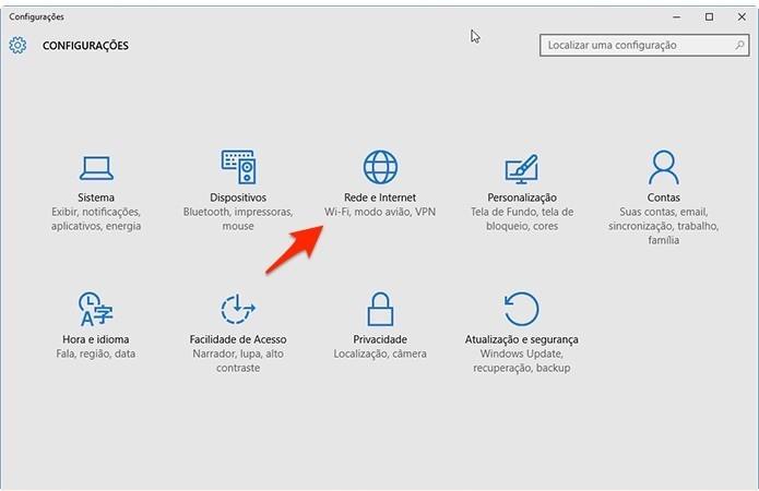 Caminho para acessar configurações de rede no Windows 10. (Foto: Reprodução/Alessandro Junior)