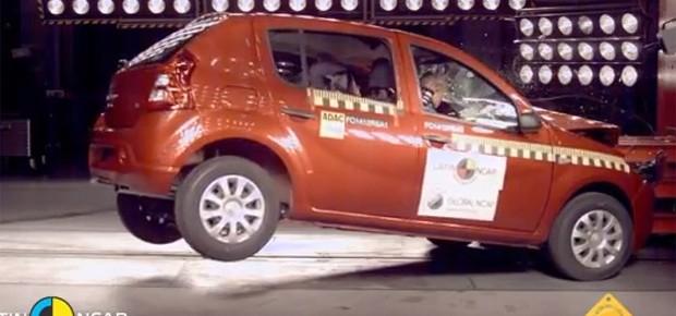 Renault Sandero em crash test do Latin NCAP (Foto: Divulgação/Latin NCAP)