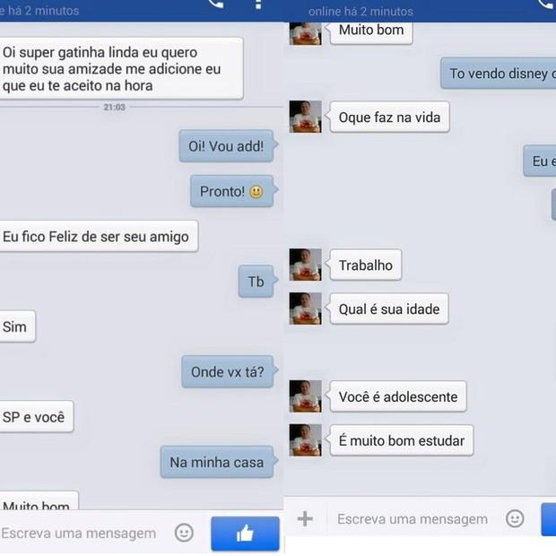 Troca de mensagens com suspeito de praticar crime de pedofilia (Foto: reprodução)
