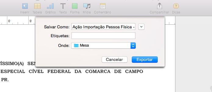 Salvando documento em formato compatível com o Word (Foto: Reprodução/Helito Bijora)