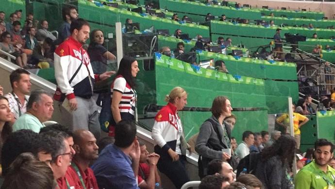 Yelena Isinbayeva assiste à semifinal do vôlei masculino entre Brasil e Rússia no Maracanãzinho (Foto: Felipe Siqueira)