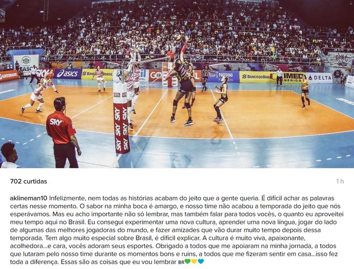 Alix Klineman; Praia Clube; ponteira; vôlei; Uberlândia (Foto: Reprodução/Instagram)