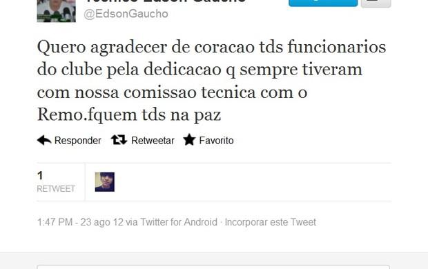 Edson Gaúcho agradece aos funcionários (Foto: Reprodução / Twitter)