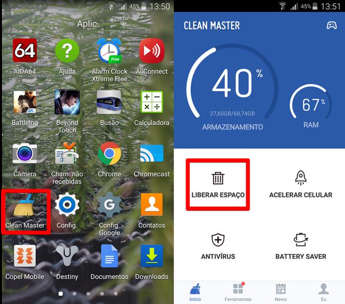 Clean Master permite limpar a memória do celular com simplicidade (Foto: Reprodução/Filipe Garrett)