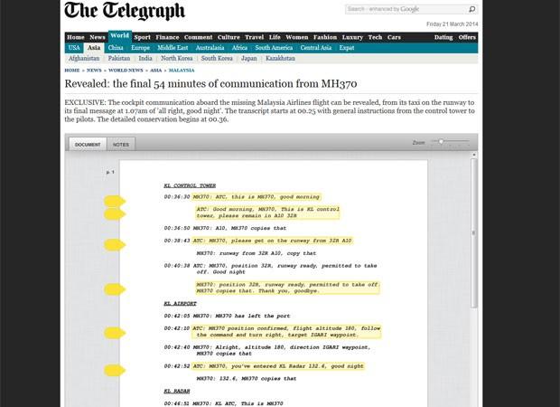 Site do jornal diz ter publicado com exclusividade últimas conversas entre os pilotos do MH370 e os controladores (Foto: The Telegraph/reprodução)
