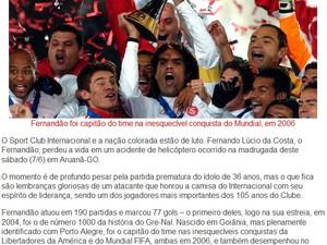 Internacional divulga nota oficial de luto pela morte do ídolo Fernandão (Foto: Reprodução / Internacional)