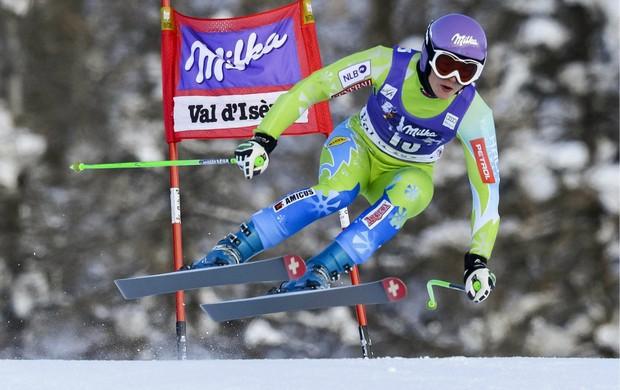 esqui alpino Tina Maze treina para a Copa do Mundo de Val d'Isere (Foto: EFE)