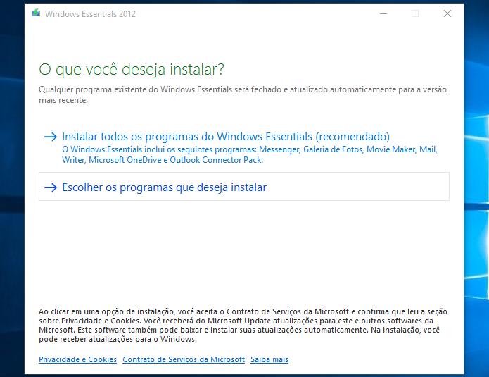 Iniciando instalação do Windows Essentials 2012 (Foto: Reprodução/Helito Bijora)