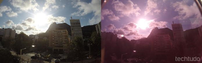 A primeira foto foi tirada com a lente normal, já a segunda, com um óculos escuros na frente da lente (Foto: Juliana Pixinine/TechTudo)