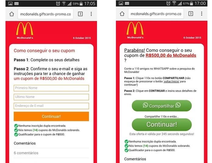 Após completar pesquisa vítima e dissuadida a compartilhar fraude pelo WhatssAp (Foto: Divulgação/ESET)