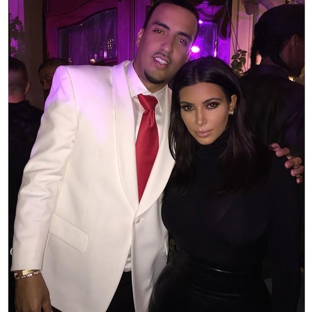 French Montana e Kim Kardashian em festa (Foto: Instagram/ Reprodução)