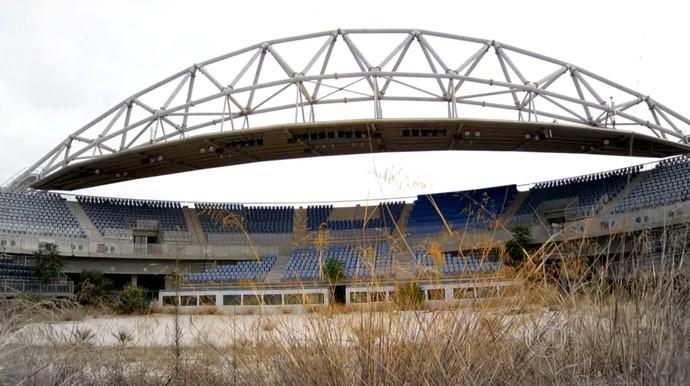 Arena do vôlei de praia em Atenas (Foto: Reprodução TV Globo)
