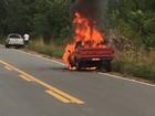 Carro pega fogo na BR-174 em RR; ninguém se feriu, dizem Bombeiros