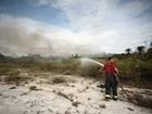 Bombeiros combatem fogo em vegetação na AL-101 Sul, em Marechal