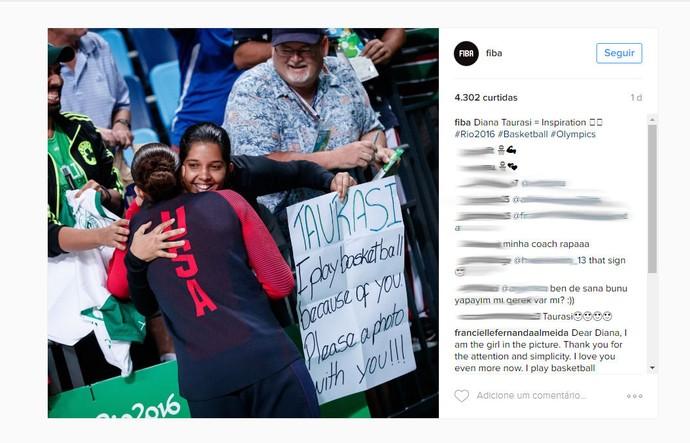 Diana Taurasi, Instagram, JF Celtics, basquete (Foto: Reprodução/Instagram)