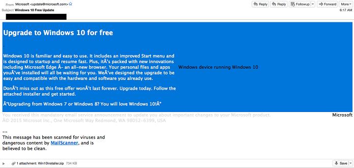Golpe usa suposto e-mail de upgrade do Windows para enganar usuários (Foto: Divulgação/Cisco)