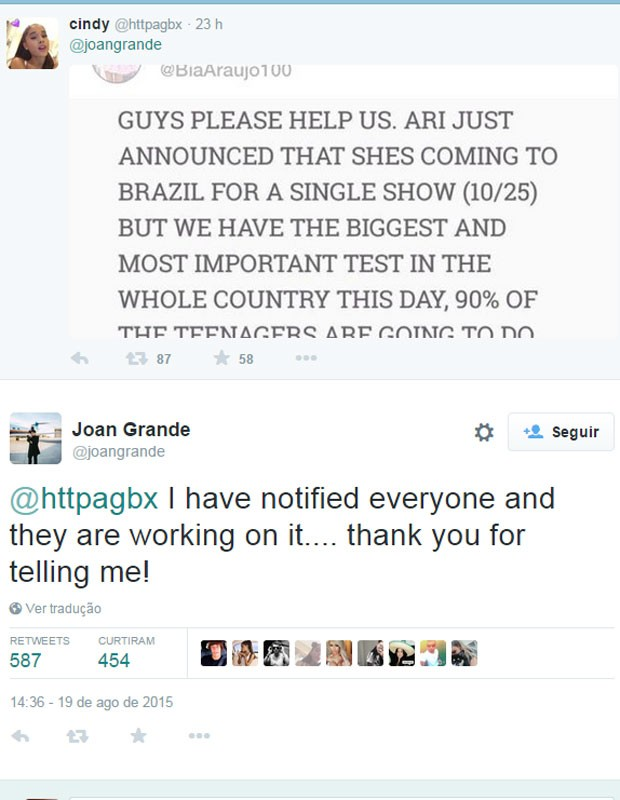 No Twitter, mãe da cantora respondeu fã que pedia apoio à mudança da data do show. (Foto: Reprodução/Twitter)