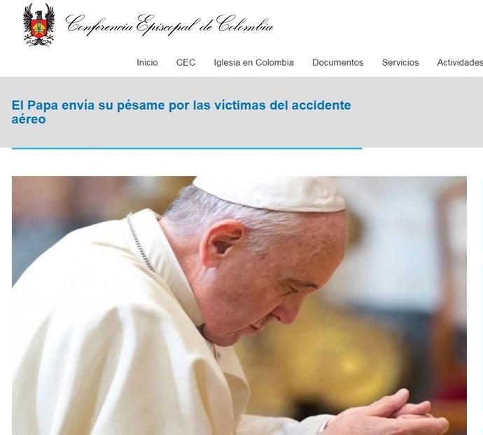 Conferência Episcopal da Colômbia transmite a mensagem do Papa Francisco (Foto: Reprodução CEC)