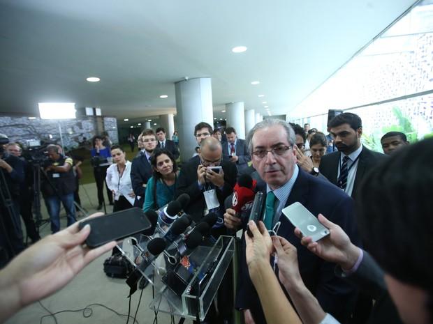Coletiva com o presidente da Câmara dos Deputados, Eduardo Cunha (PMDB-RJ), realizada no Salão Verde da Casa, no Congresso Nacional, em Brasília. (Foto: André Dusek/Estadão Conteúdo)