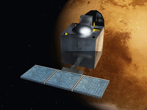 Concepção artística mostra o equipamento Mangalyaan, lançado pela missão espacial indiana em setembro passado (Foto: Divulgação/Isro)