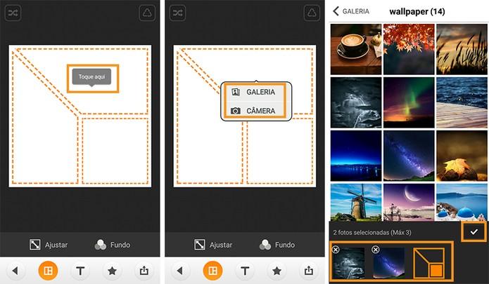 Selecione as fotos na galeria ou registre novas pelo Android (Foto: Reprodução/Barbara Mannara)
