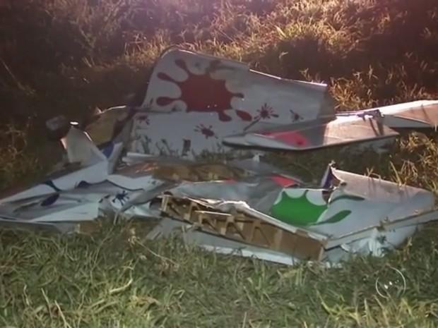 Segundo os bombeiros, avião desmanchou no ar (Foto: Reprodução/TV TEM)