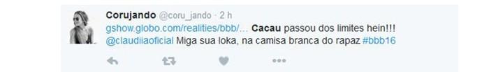Cacau joga vinho em Matheus Twitter BBB (Foto: Reprodução/Internet)