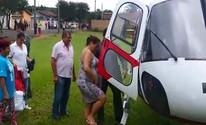 Gestante é resgatada por helicóptero da polícia após ficar ilhada pela chuva (Divulgação/ Águia PM )