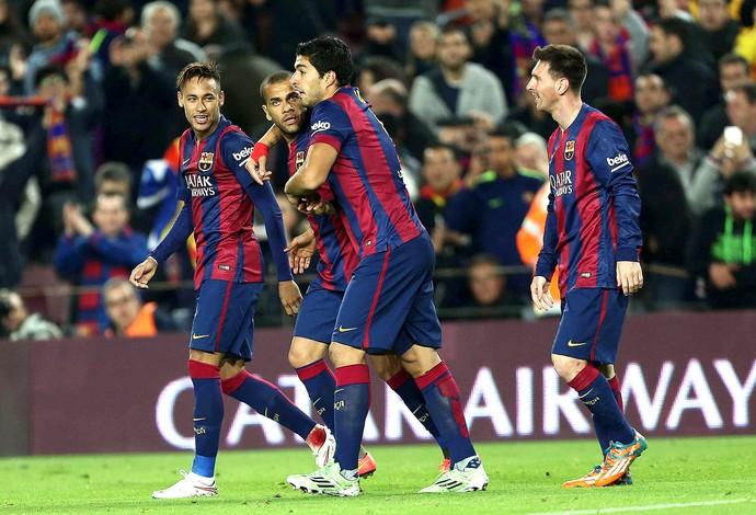 Luis Suárez, Neymar, Dani Alves e Messi, Barcelona x Atlético de Madri (Foto: EFE)