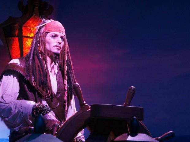 Jack Sparrow, de Piratas do Caribe, representa alguns dos vários personagens do cinama americano (Foto: Fabiula Wurmeister / G1)