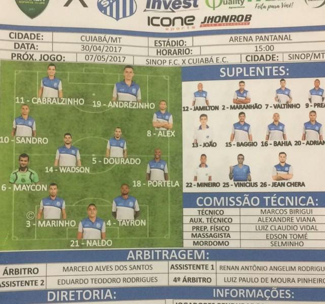 f7c756047e Cuiabá x Sinop - Campeonato Mato-Grossense 2017 - globoesporte.com
