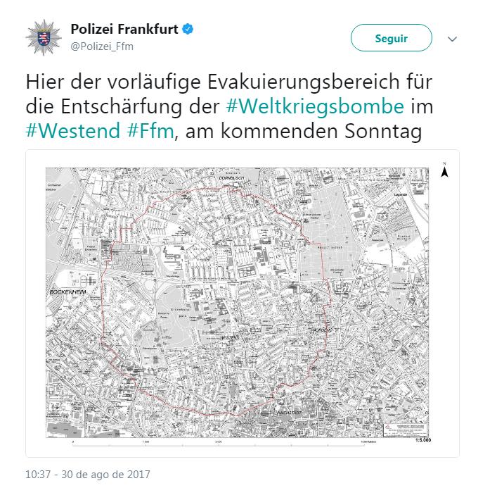Área que deverá ser evacuada (Foto: Reprodução Twitter)