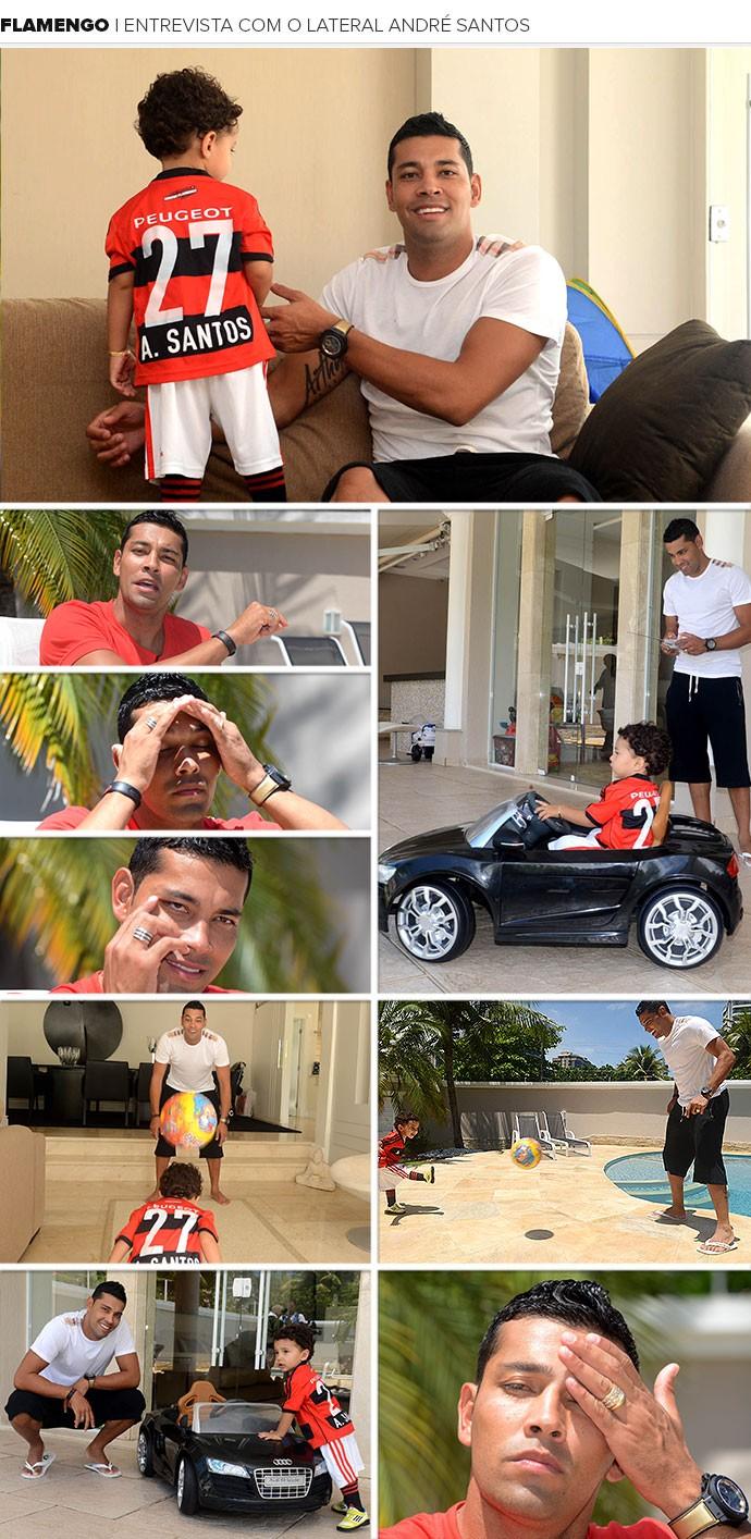 Mosaico André Santos Flamengo (Foto: André Durão / Globoesporte.com)