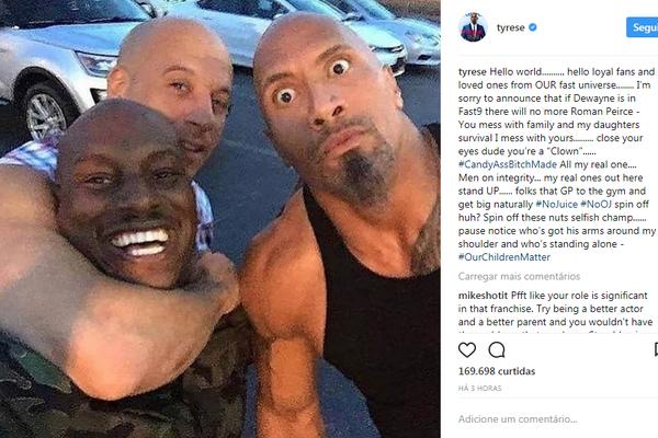 Tyrese Gibson revela sua decisão: ou The Rock ou eu (Foto: Reprodução/Instagram)