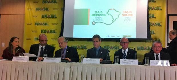 Coletiva de imprensa com os ministros da Educação e da Saúde (Foto: Gabriel Luiz/G1)