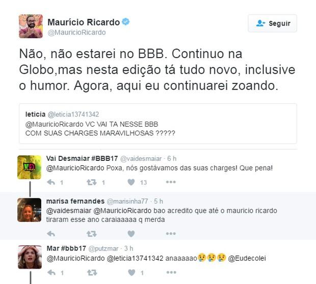 Expectadores lamentam a saída de Maurício Ricardo (Foto: Reprodução / Twitter)