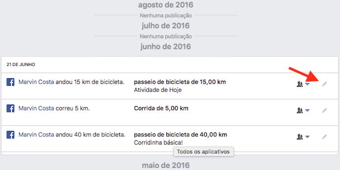 Acesso para as configurações de um aplicativo no registro de atividades do Facebook (Foto: Reprodução/Marvin Costa)