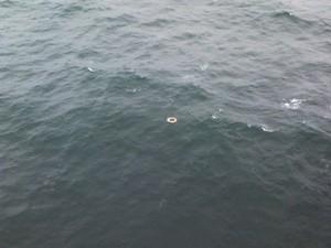 Equipe do Helicóptero Arcanjo encontrou destroços, possivelmente do barco (Foto: Divulgação/Arcanjo)