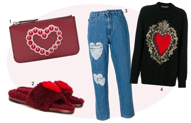 1. Carteira, Fendi, R$ 1.940 2. Slides, Anya Hindmarch, R$ 1.790 3. Jeans, Moschino, R$ 1.600 4. Moleton, Dolce & Gabbana, R$ 7.630 (Foto: Divulgação/ Reprodução)